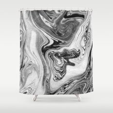 Mizuki - spilled ink marbling paper marble swirl abstract painting original art india ink minimal Shower Curtain