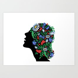 Female head with abstract flowers Art Print