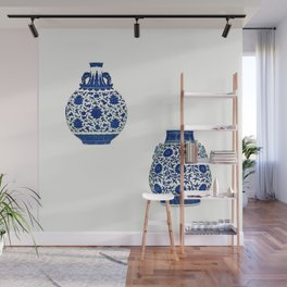 BLUE AND WHITE 'LOTUS SCROLL' MOONFLASK AND VASE - watercolor Wall Mural