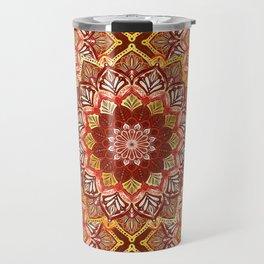Boho Mandala in Dark Red and Gold Travel Mug