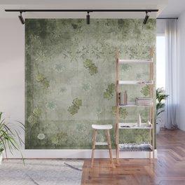 Sage Green Wallflowers Wall Mural