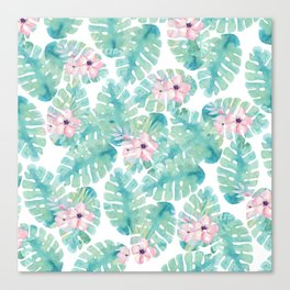 Modern summer tropical blush pink green watercolor floral Canvas Print