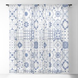 Blue Tile Sheer Curtain