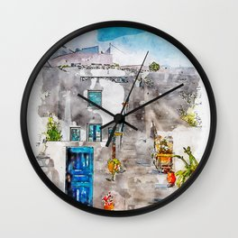 Aquarelle sketch art. Unique Santorini architecture, beautiful buildings Wall Clock