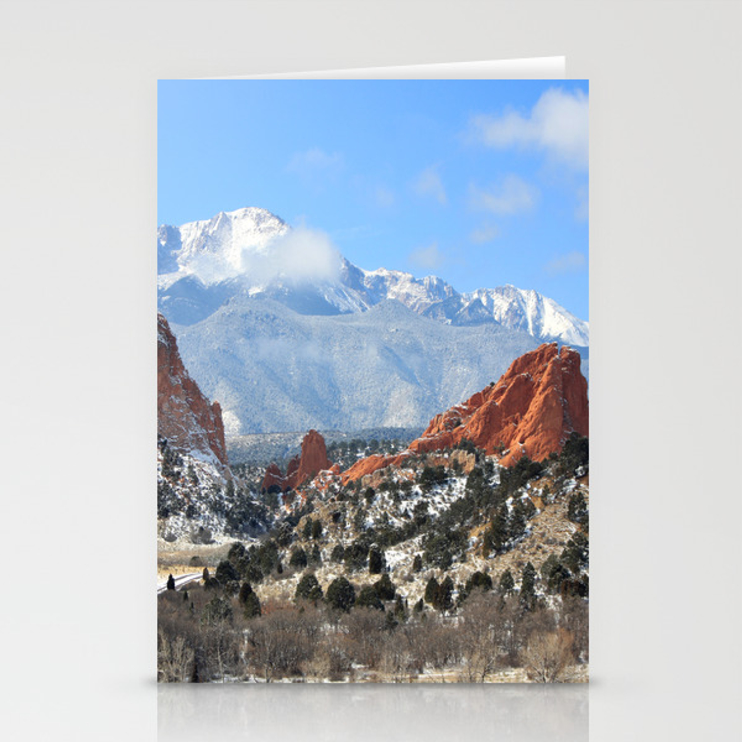 Snow At The Garden Of The Gods Colorado Springs Stationery Cards By Trinitybennett