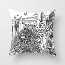 Dragon Eye Doodle Throw Pillow