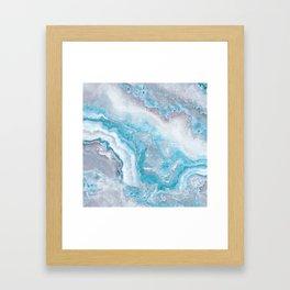 Ocean Foam Mermaid Marble Framed Art Print