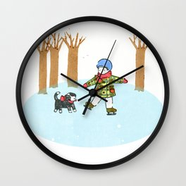 Fun Time in Winter: Skating Boy with a Puppy in Japanese Woodcut Wall Clock