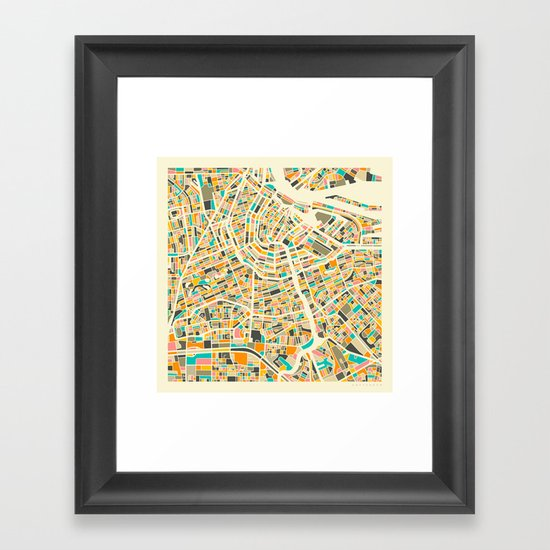 Amsterdam Map Framed Art Print