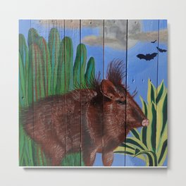 Javelina on Pallet Metal Print