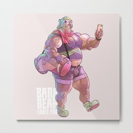 Bara Bear Purple Metal Print