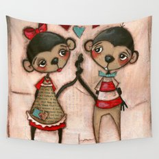 Monkey Love Wall Tapestry