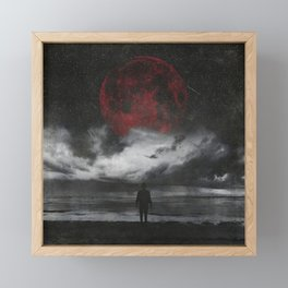 retreat - surreal and dark seascape with red moon Framed Mini Art Print