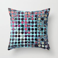 MELANGE OF BLUE and ROSE Throw Pillow
