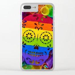 Rainbow Sugar Skull Clear iPhone Case