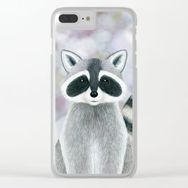 raccoon woodland animal portrait Clear iPhone Case