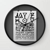 jay z Wall Clocks featuring Eye Test - JAY Z by Studio Samantha