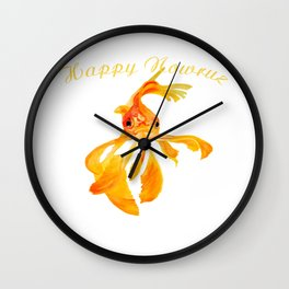 Happy Nowruz Persian New Year Goldfish Isolated Wall Clock