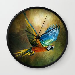 A Flash of Macaw Wall Clock