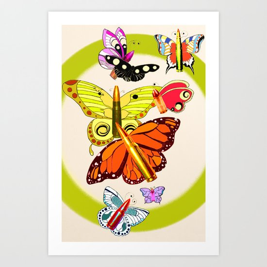 Bullet with Butterfly Wings Art Print