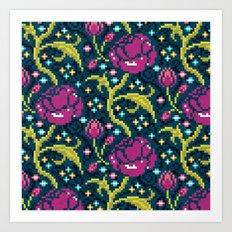 Pixel Flora Art Print