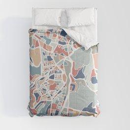 Jerusalem Map Art Comforters