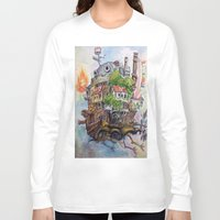 calcifer Long Sleeve T-shirts featuring Howls Moving Castle Painting 2 by Little Miss Marikit