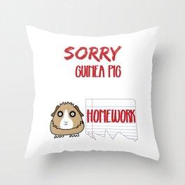 Funny Animal Guinea Pig Tshirt Design Sorry, my guinea pig ate my home work Throw Pillow
