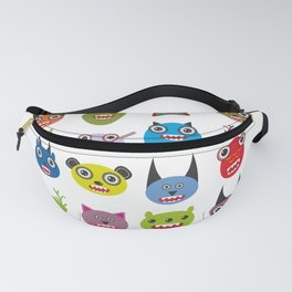 Cute cartoon Monsters Set. Big collection on white background Fanny Pack