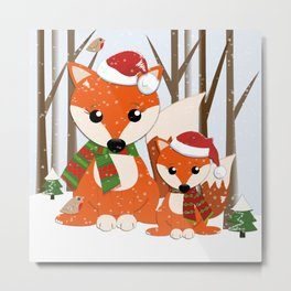 Cute Foxes with Santa hats in a snowy winter world Metal Print