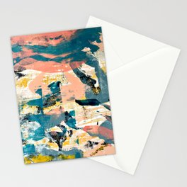 033.4: a vibrant abstract design in pink blue yellow an black Alyssa Hamilton Art Stationery Cards