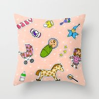 stickers Throw Pillows featuring For Mommy stickers by Lisidza's art