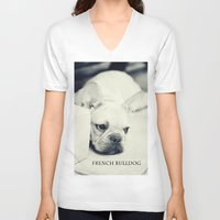 french bulldog V-neck T-shirts featuring French Bulldog by Falko Follert Art-FF77