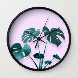 Monstera Palm on Musk Wall Clock