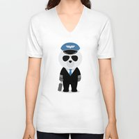 aviation V-neck T-shirts featuring Aviation Bear by Elle Moz