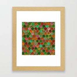 Greens & Gold Mermaid Scales Framed Art Print