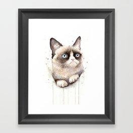 Grumpy Watercolor Cat Animals Meme Geek Art Framed Art Print