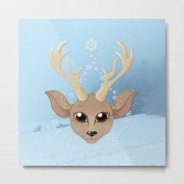 Snow Deer Metal Print