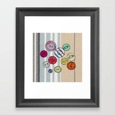 Embroidered Button Illustration Framed Art Print