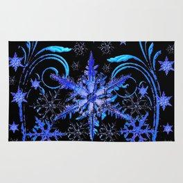 DECORATIVE BLACK & BLUE WINTER SNOWFLAKE FANTASY ART Rug