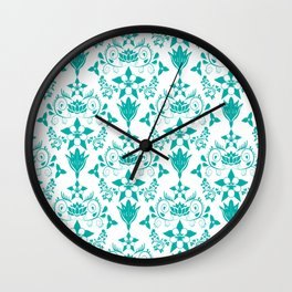 Floral Damask in Teal Wall Clock