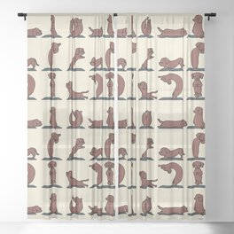 Dachshund yoga Sheer Curtain