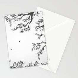 tree branches with birds and leaves on a light background Stationery Cards