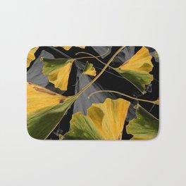 Yellow Ginkgo Leaves on Black Bath Mat