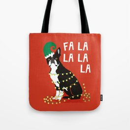 Boston Terrier Elf Christmas holiday art print with cute small dog breed terrier dog lover gift idea Tote Bag