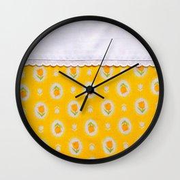 farmhouse yellow tulips Wall Clock