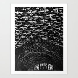 Chicago, Illinois. Model airplanes decorate the ceiling of the train concourses at Union Station Art Print