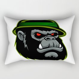 Military Gorilla Head Rectangular Pillow