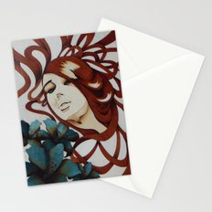 Beautiful blue eyes wooden marquetry art Stationery Cards