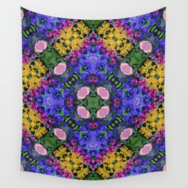 Floral Spectacular: Blue, Plum and Gold - repeating pattern, diamond, Olbrich Botanical Gardens, Mad Wall Tapestry
